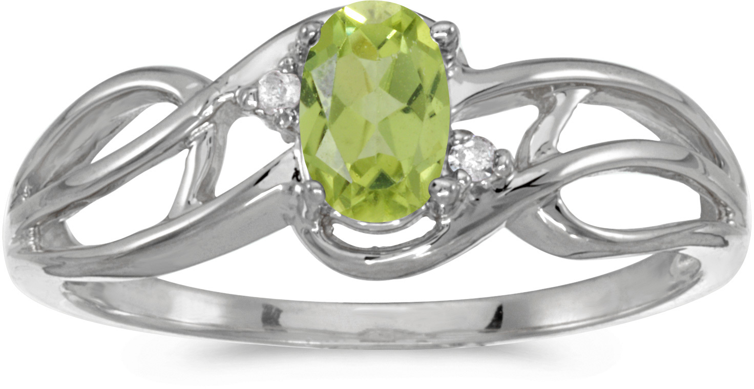 14k White Gold Oval Peridot And Diamond Curve Ring (CM-RM2588XW-08)