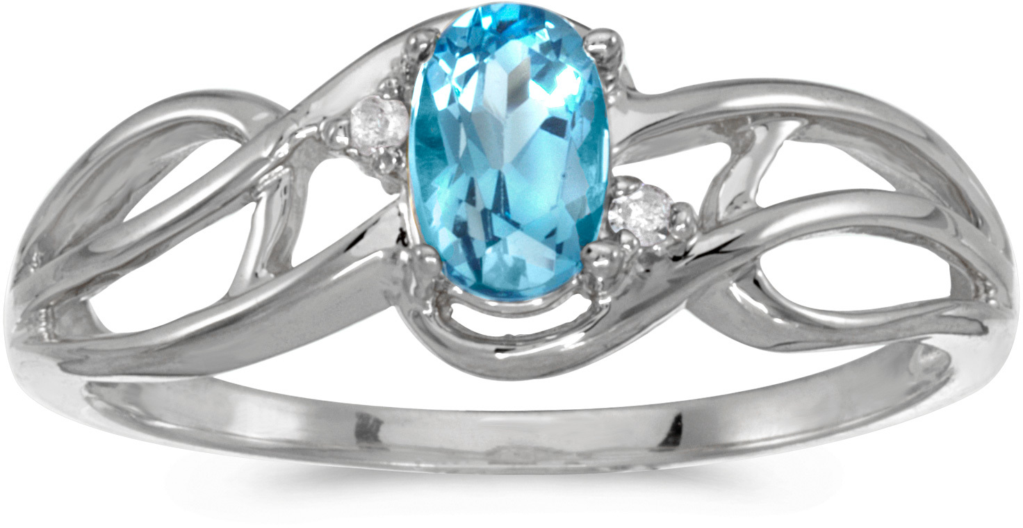 14k White Gold Oval Blue Topaz And Diamond Curve Ring (CM-RM2588XW-12)
