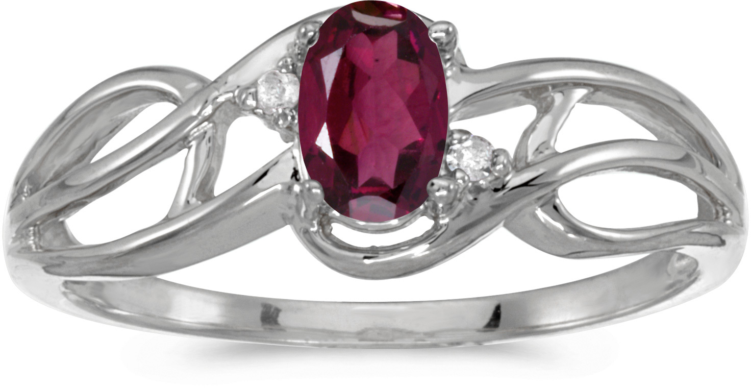 14k White Gold Oval Rhodolite Garnet And Diamond Curve Ring (CM-RM2588XW-RG)