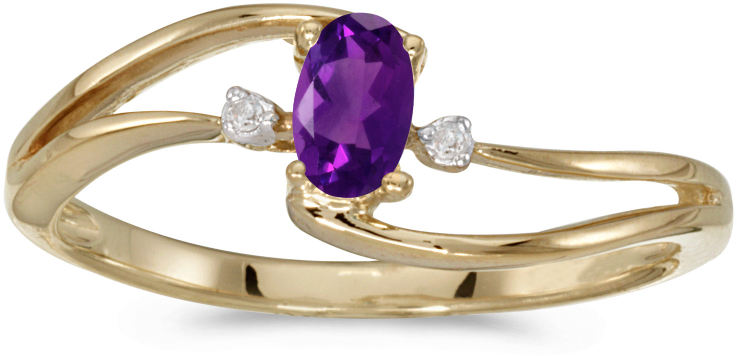 10k Yellow Gold Oval Amethyst And Diamond Wave Ring (CM-RM2589-02)