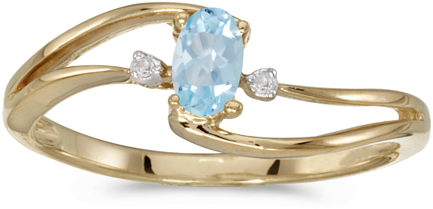 10k Yellow Gold Oval Aquamarine And Diamond Wave Ring (CM-RM2589-03)