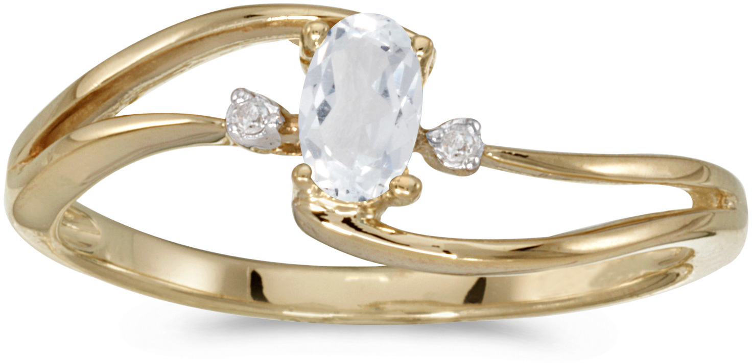 10k Yellow Gold Oval White Topaz And Diamond Wave Ring (CM-RM2589-04)