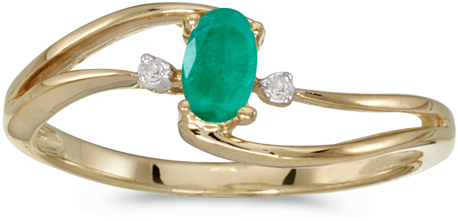 10k Yellow Gold Oval Emerald And Diamond Wave Ring (CM-RM2589-05)