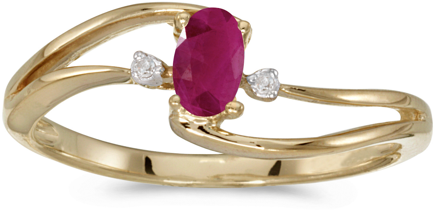 10k Yellow Gold Oval Ruby And Diamond Wave Ring (CM-RM2589-07)