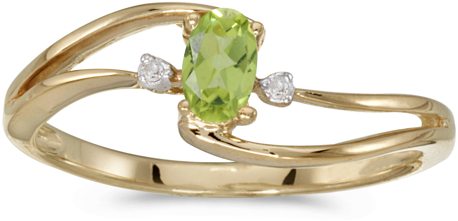 10k Yellow Gold Oval Peridot And Diamond Wave Ring (CM-RM2589-08)