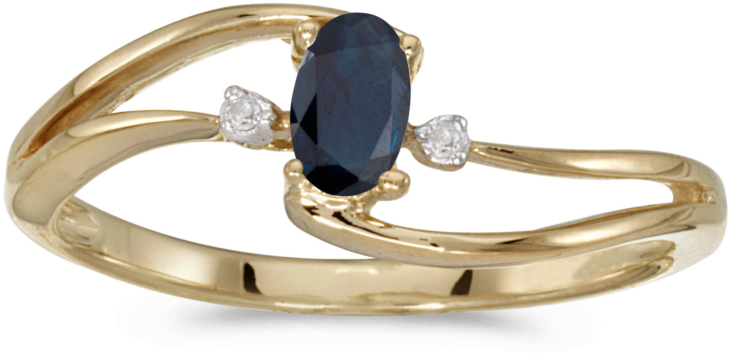 10k Yellow Gold Oval Sapphire And Diamond Wave Ring (CM-RM2589-09)