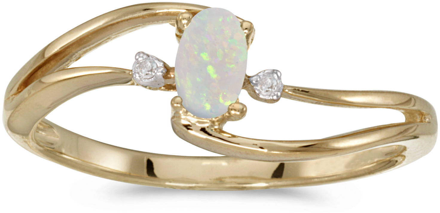 10k Yellow Gold Oval Opal And Diamond Wave Ring (CM-RM2589-10)