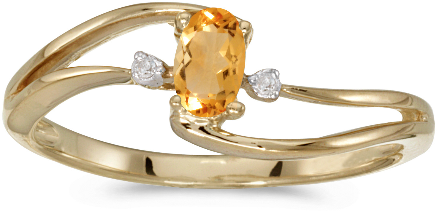 10k Yellow Gold Oval Citrine And Diamond Wave Ring (CM-RM2589-11)