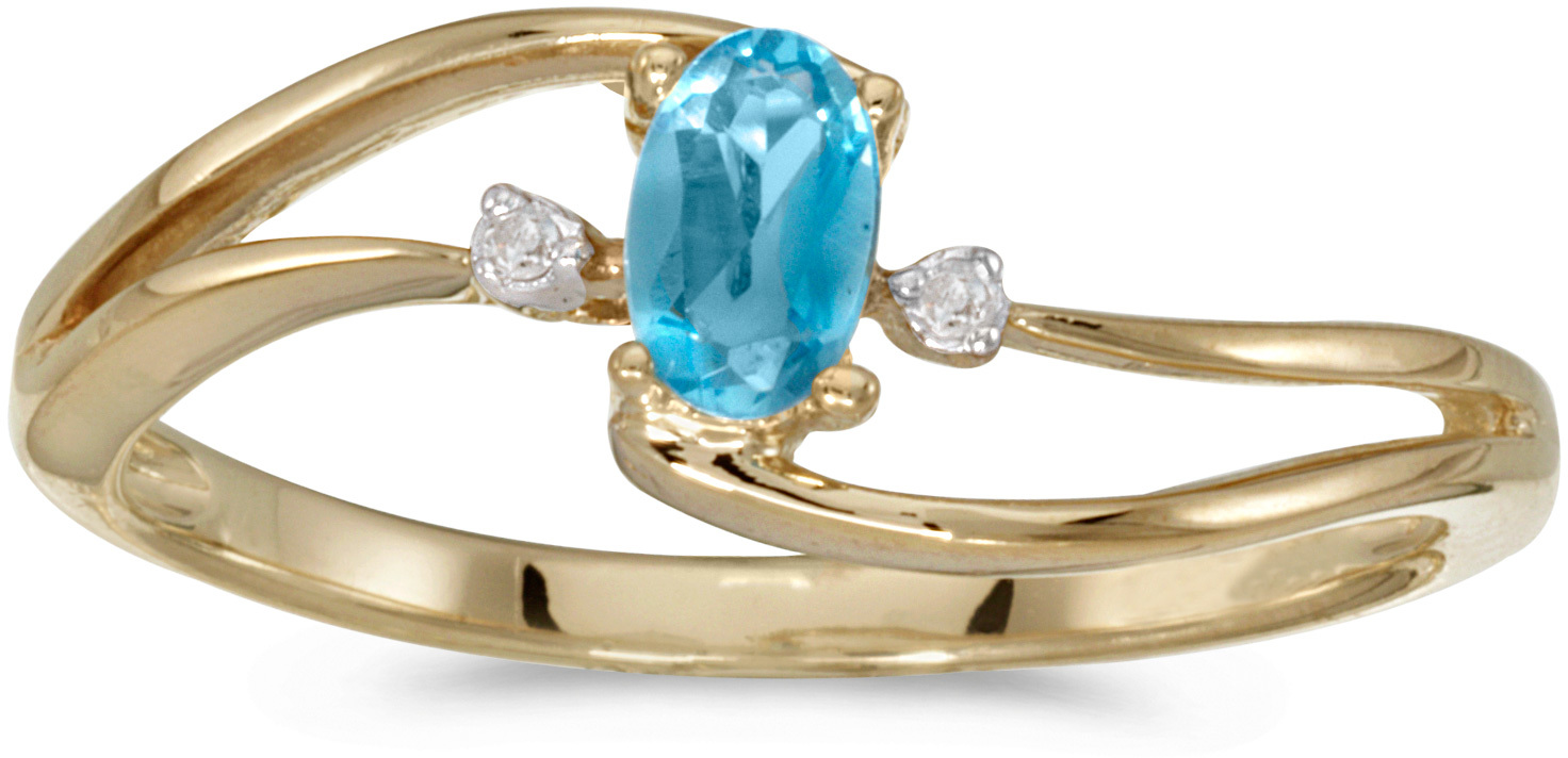 10k Yellow Gold Oval Blue Topaz And Diamond Wave Ring (CM-RM2589-12)