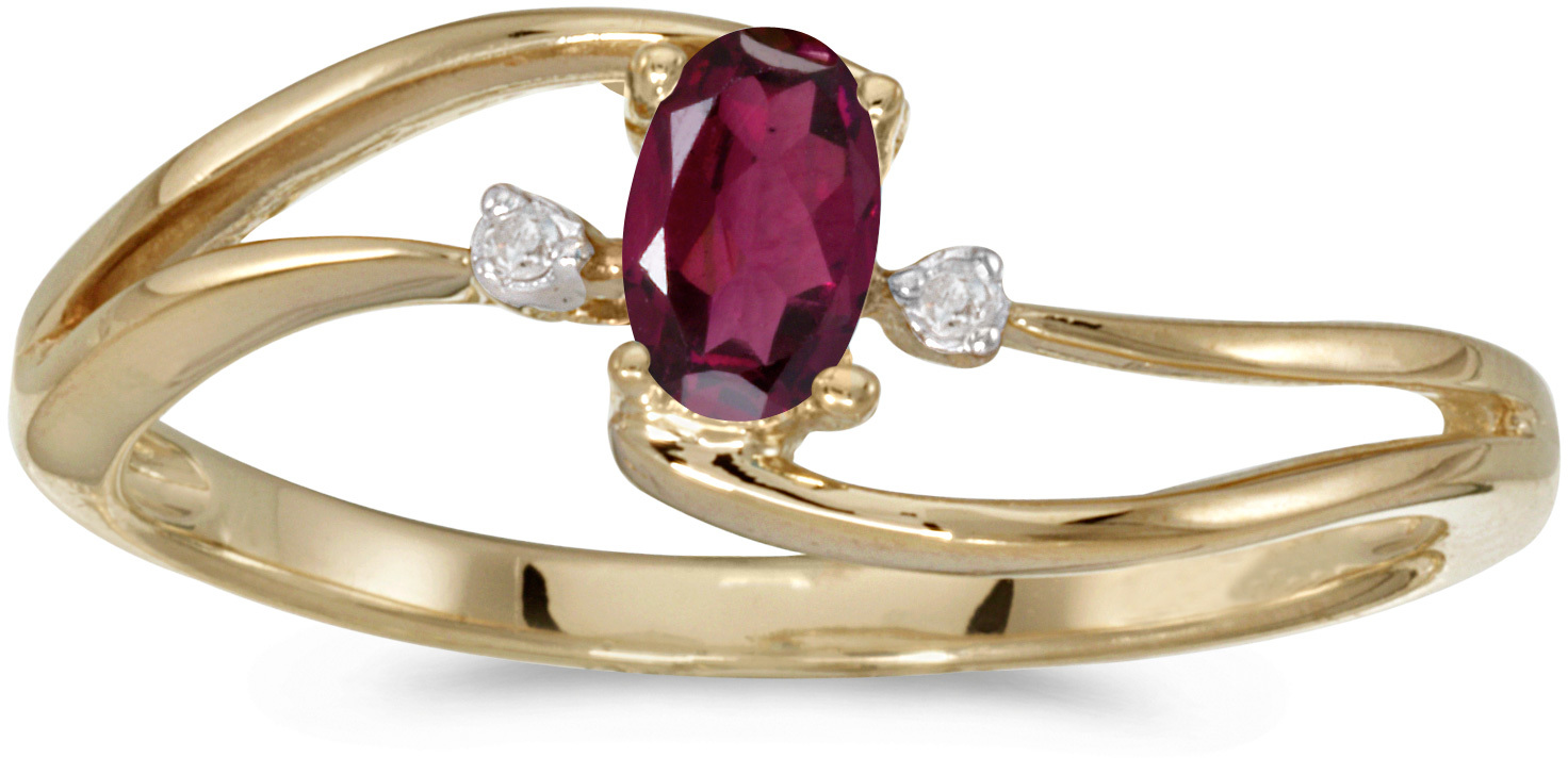 10k Yellow Gold Oval Rhodolite Garnet And Diamond Wave Ring (CM-RM2589-RG)