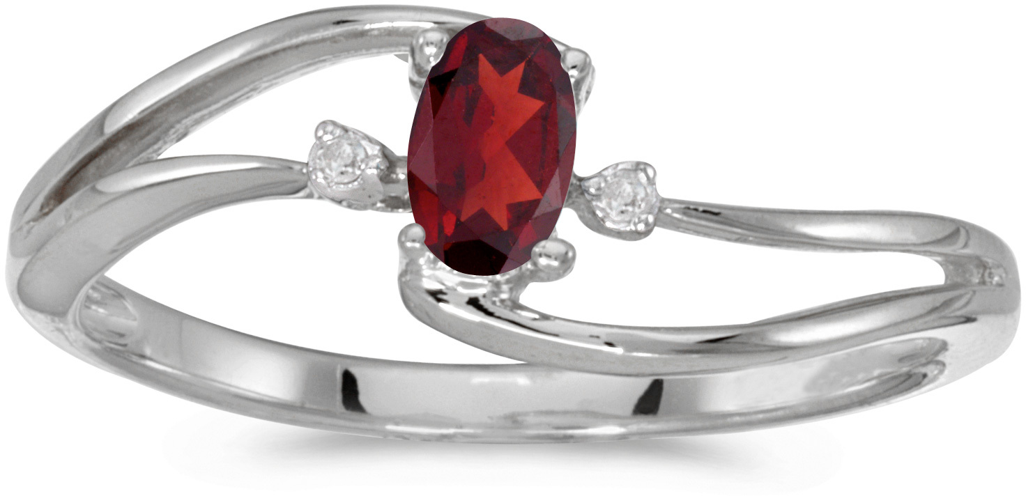 10k White Gold Oval Garnet And Diamond Wave Ring (CM-RM2589W-01)