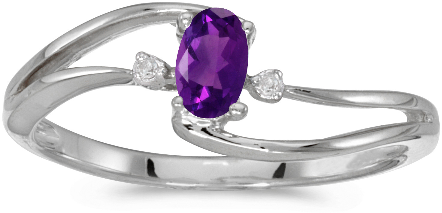 10k White Gold Oval Amethyst And Diamond Wave Ring (CM-RM2589W-02)