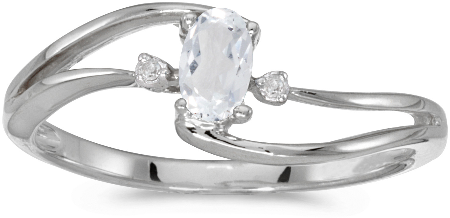 10k White Gold Oval White Topaz And Diamond Wave Ring (CM-RM2589W-04)