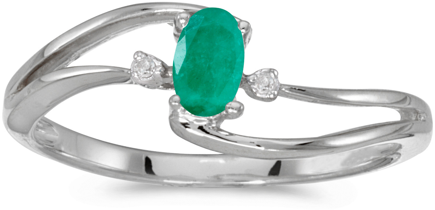 10k White Gold Oval Emerald And Diamond Wave Ring (CM-RM2589W-05)