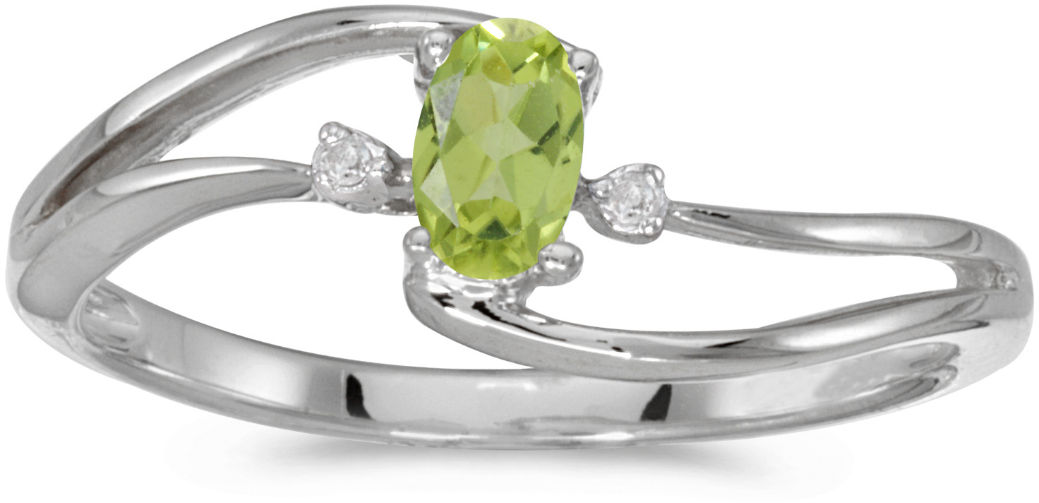 10k White Gold Oval Peridot And Diamond Wave Ring (CM-RM2589W-08)