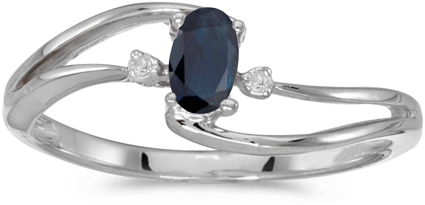 10k White Gold Oval Sapphire And Diamond Wave Ring (CM-RM2589W-09)