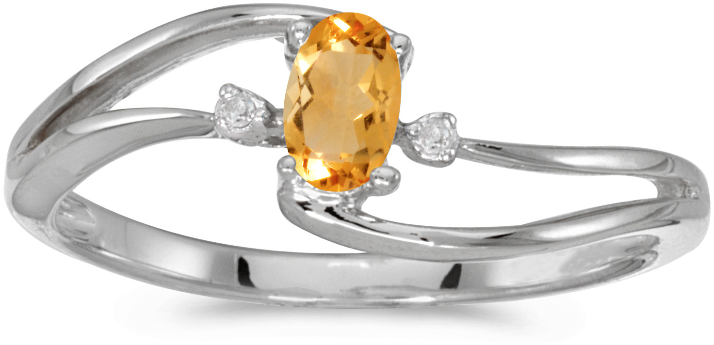 10k White Gold Oval Citrine And Diamond Wave Ring (CM-RM2589W-11)