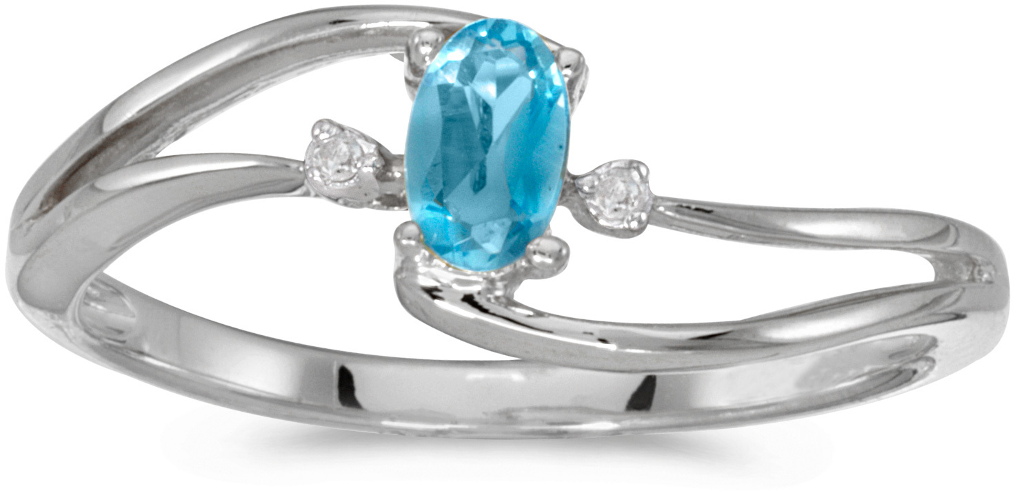 10k White Gold Oval Blue Topaz And Diamond Wave Ring (CM-RM2589W-12)