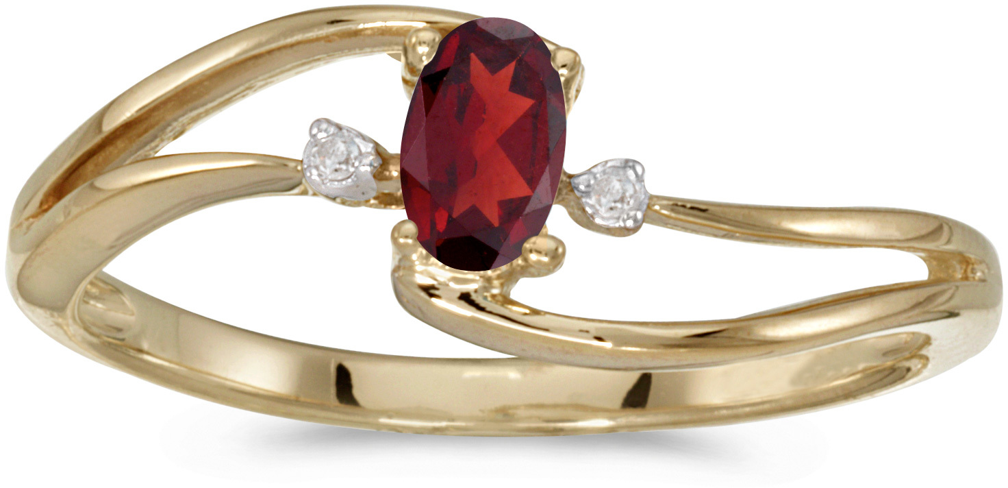 14k Yellow Gold Oval Garnet And Diamond Wave Ring (CM-RM2589X-01)