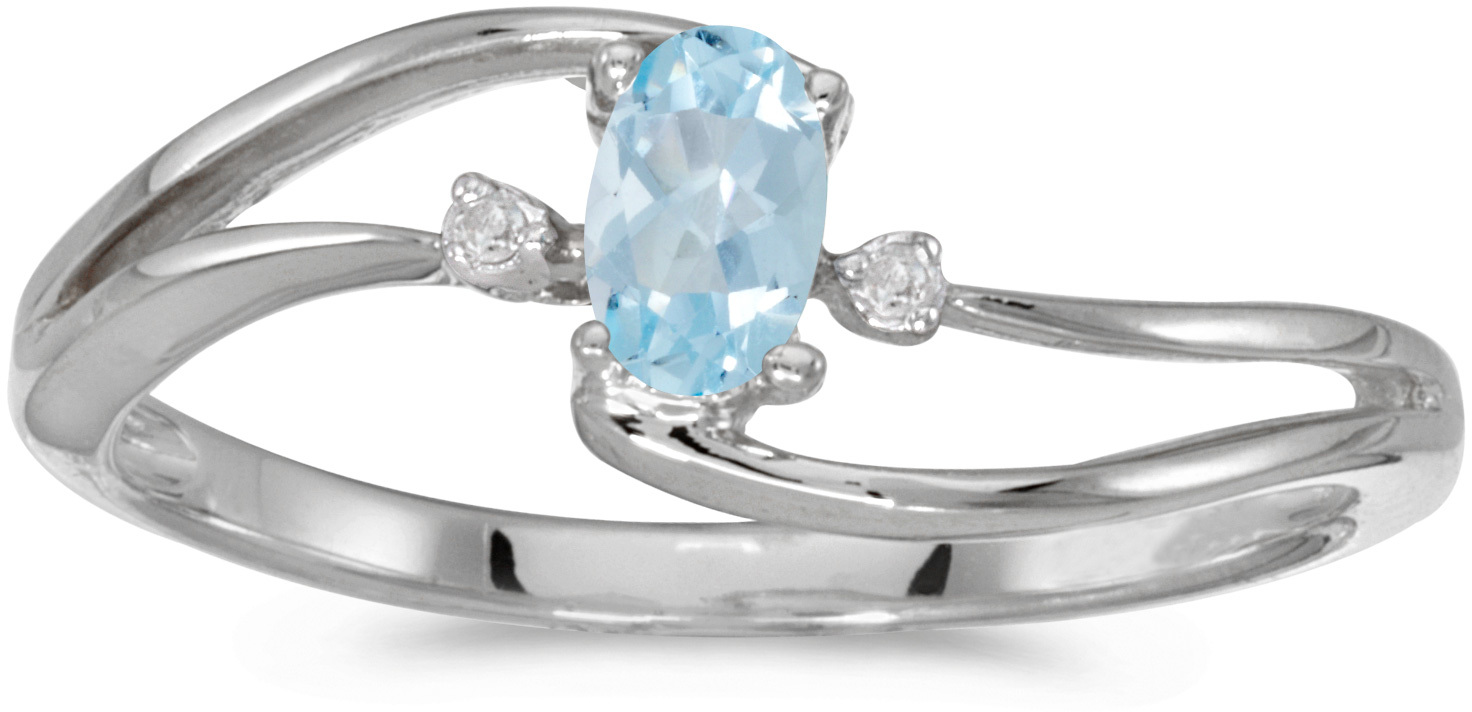 14k White Gold Oval Aquamarine And Diamond Wave Ring (CM-RM2589XW-03)