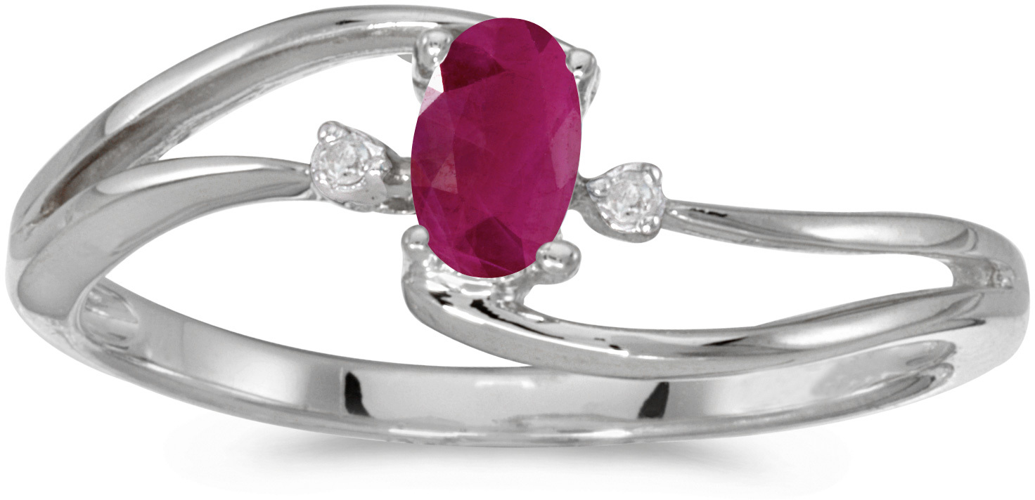 14k White Gold Oval Ruby And Diamond Wave Ring (CM-RM2589XW-07)