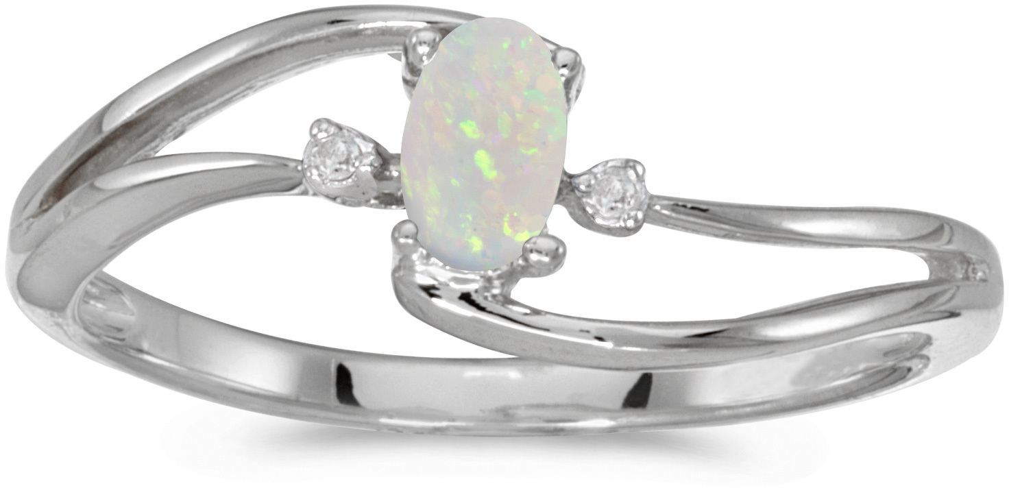 14k White Gold Oval Opal And Diamond Wave Ring (CM-RM2589XW-10)