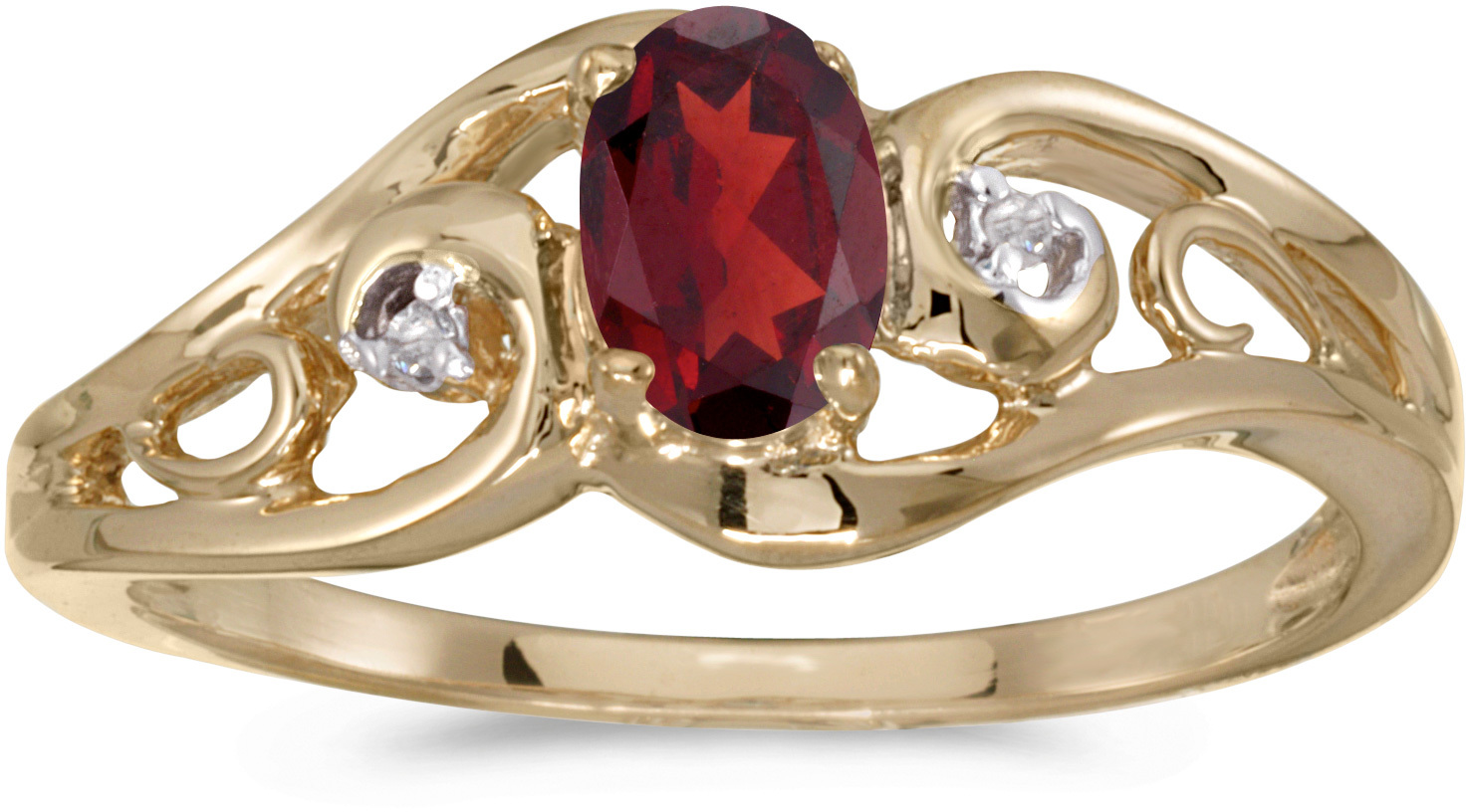 10k Yellow Gold Oval Garnet And Diamond Ring (CM-RM2590-01)