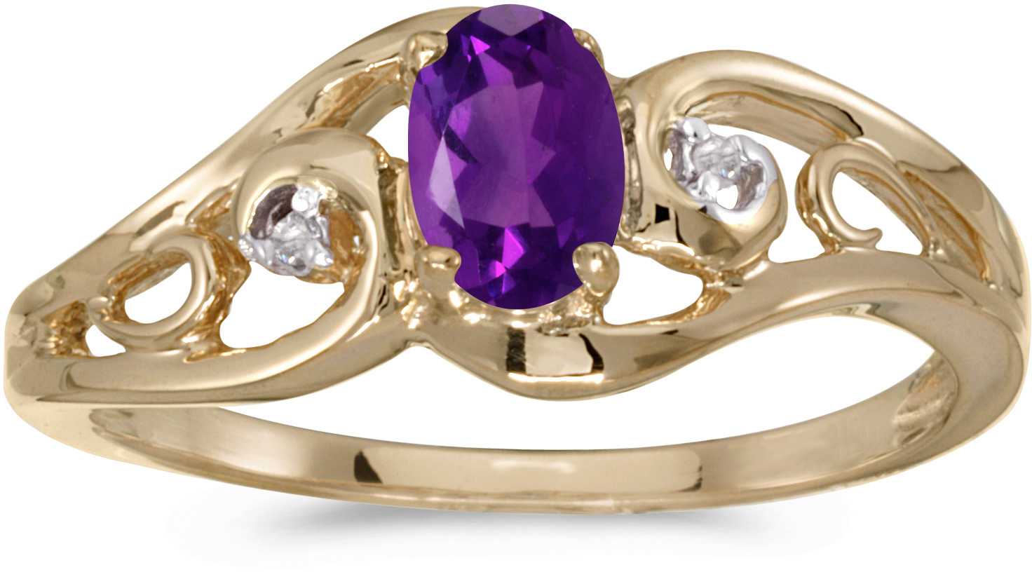 10k Yellow Gold Oval Amethyst And Diamond Ring (CM-RM2590-02)