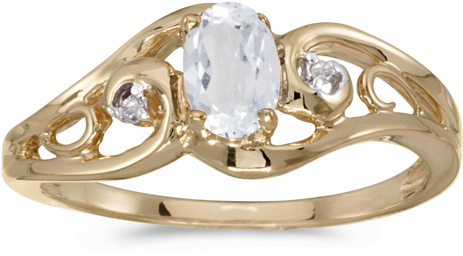 10k Yellow Gold Oval White Topaz And Diamond Ring (CM-RM2590-04)