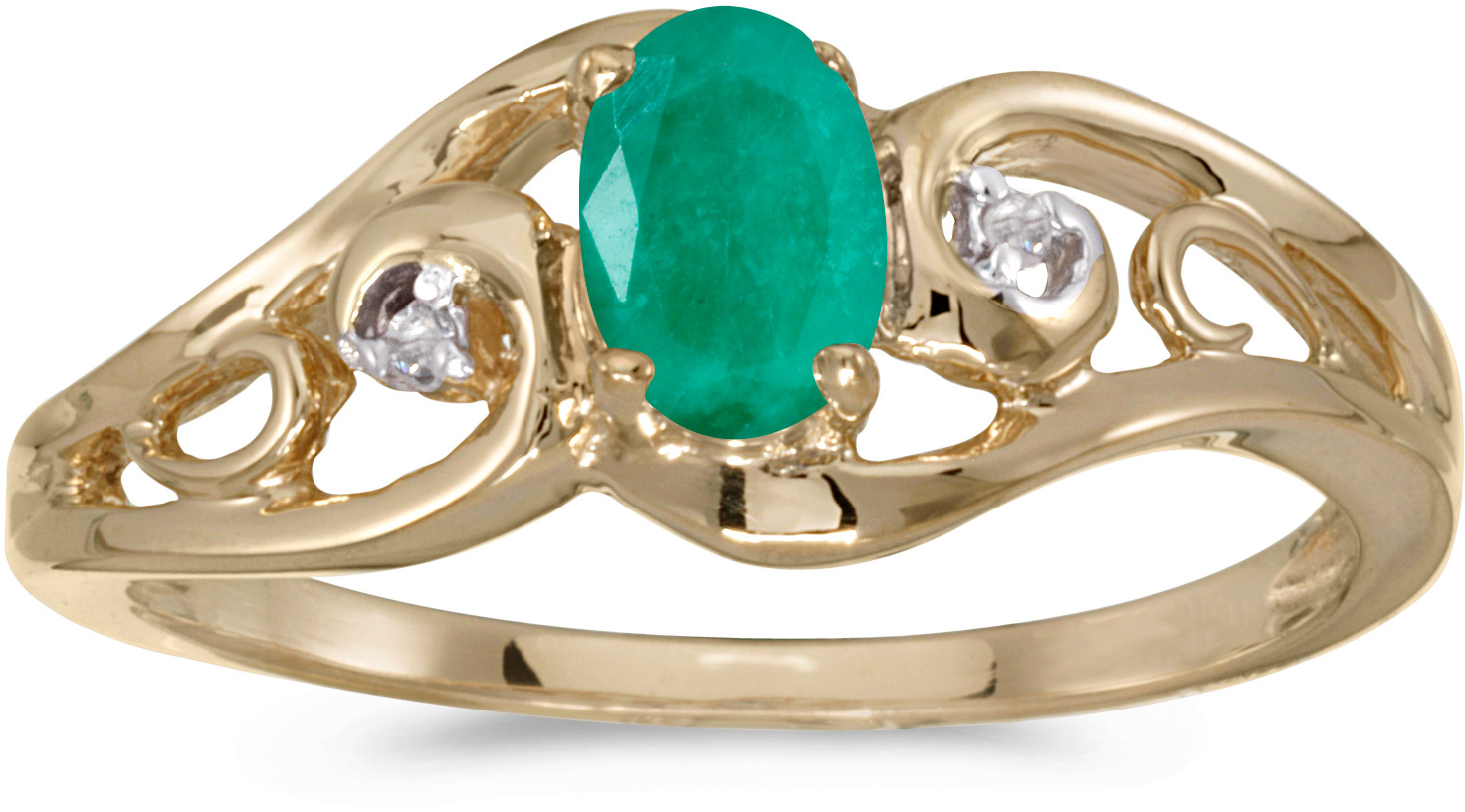 10k Yellow Gold Oval Emerald And Diamond Ring (CM-RM2590-05)