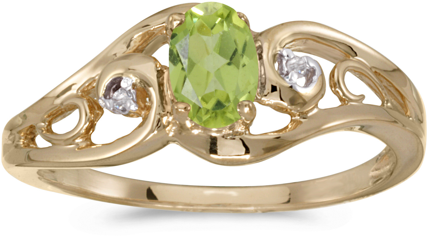 10k Yellow Gold Oval Peridot And Diamond Ring (CM-RM2590-08)