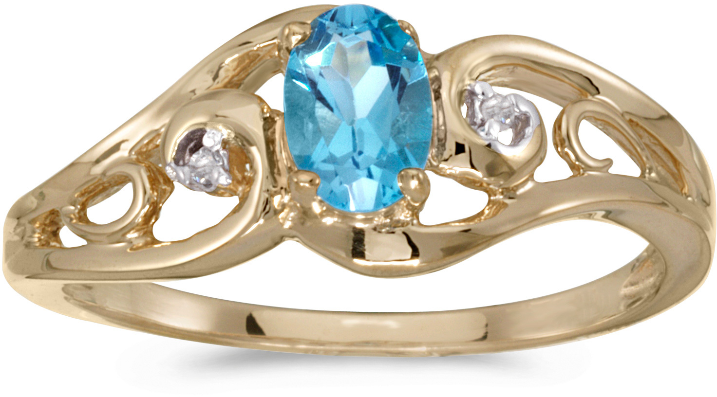 10k Yellow Gold Oval Blue Topaz And Diamond Ring (CM-RM2590-12)