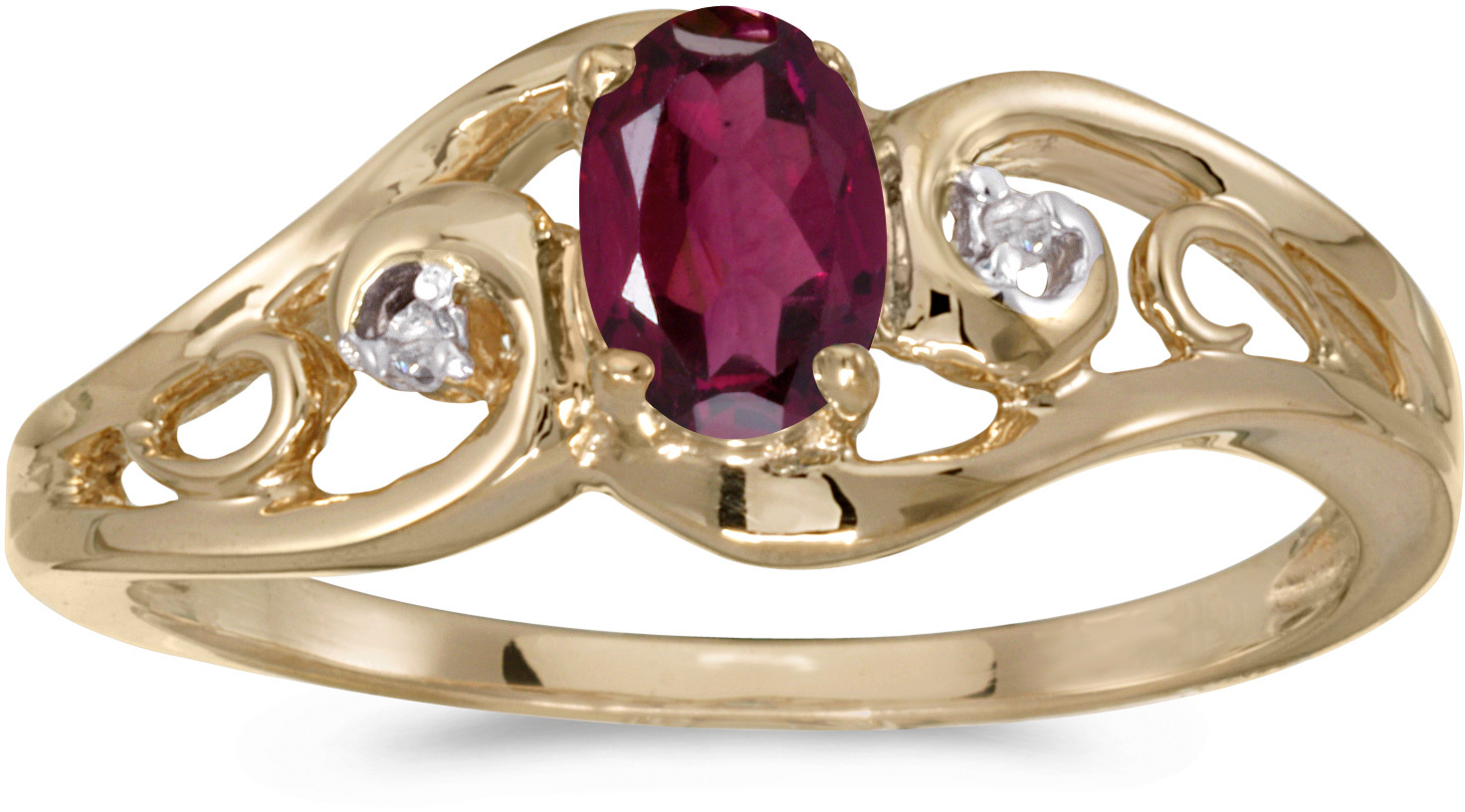 10k Yellow Gold Oval Rhodolite Garnet And Diamond Ring (CM-RM2590-RG)