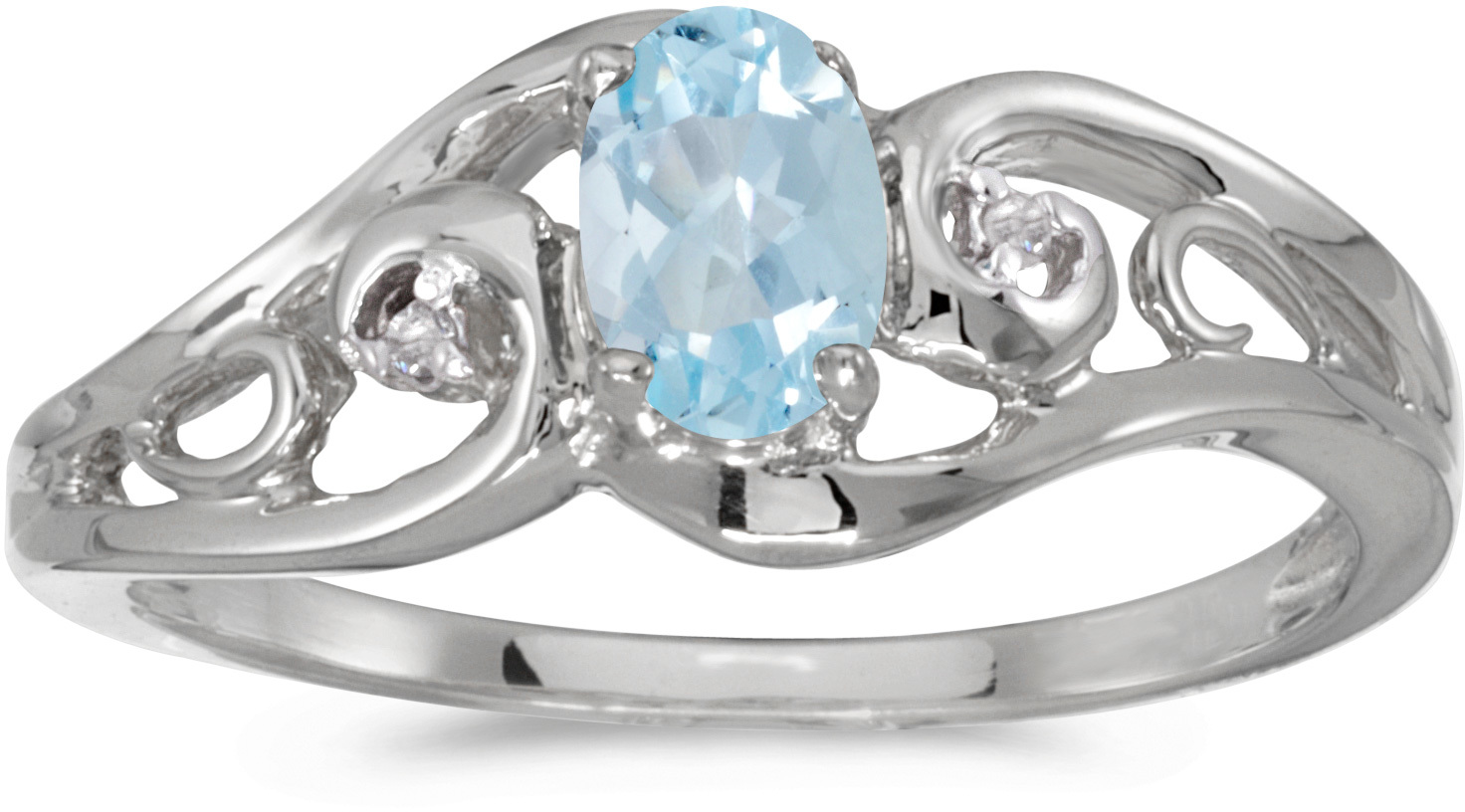 10k White Gold Oval Aquamarine And Diamond Ring (CM-RM2590W-03)
