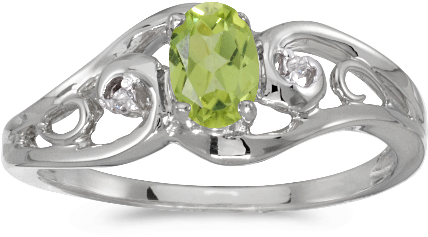 10k White Gold Oval Peridot And Diamond Ring (CM-RM2590W-08)