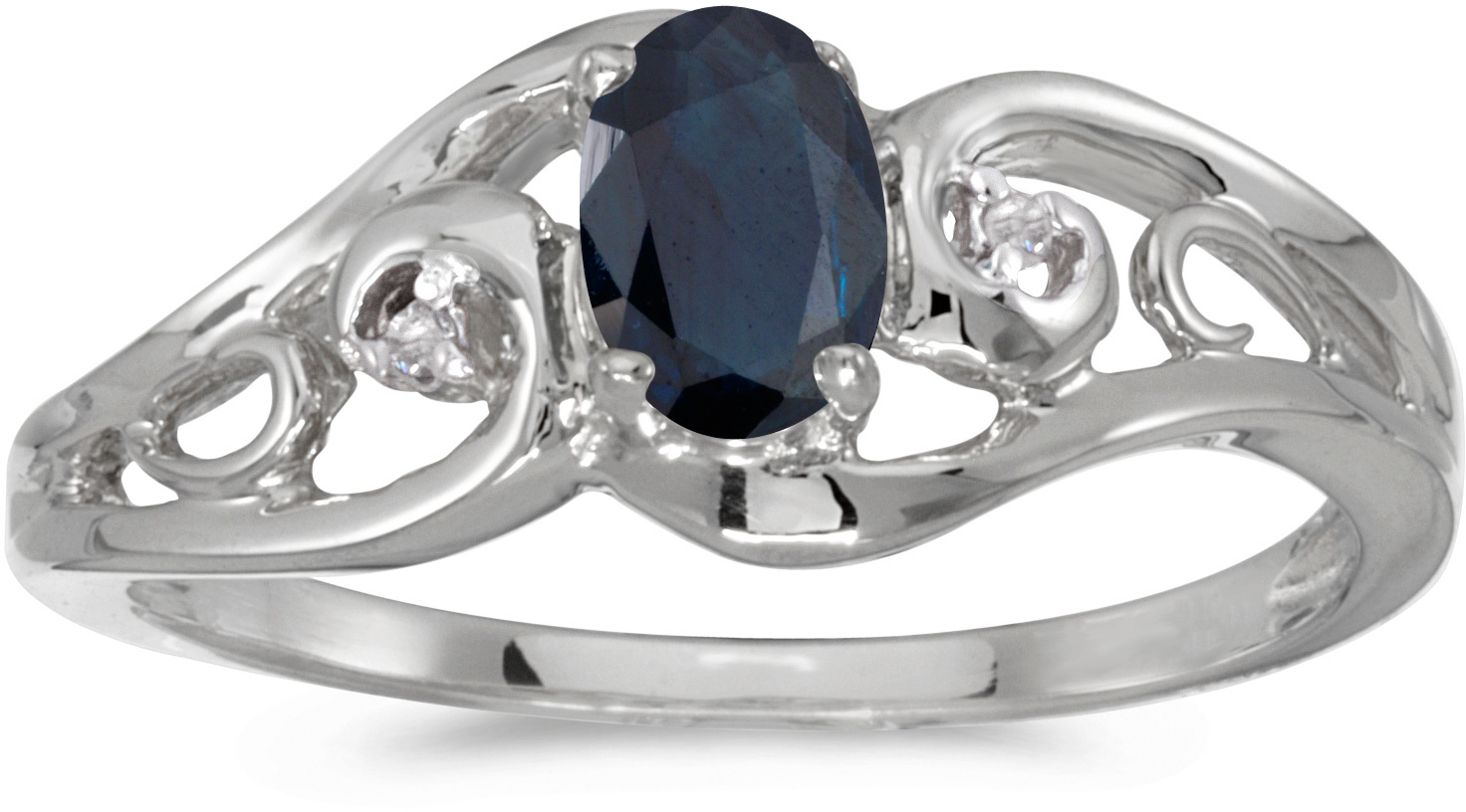 10k White Gold Oval Sapphire And Diamond Ring (CM-RM2590W-09)