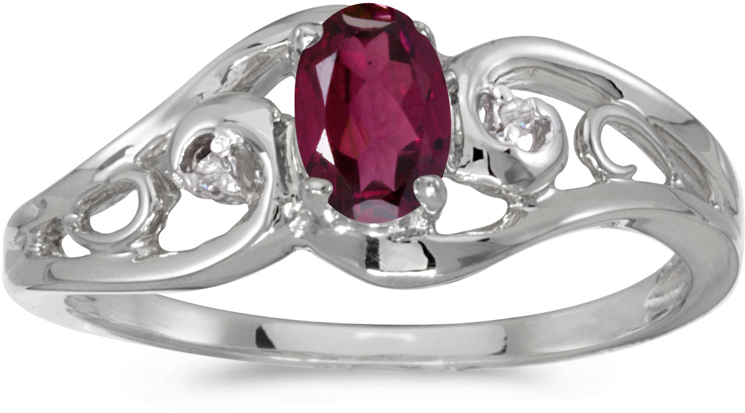 10k White Gold Oval Rhodolite Garnet And Diamond Ring (CM-RM2590W-RG)