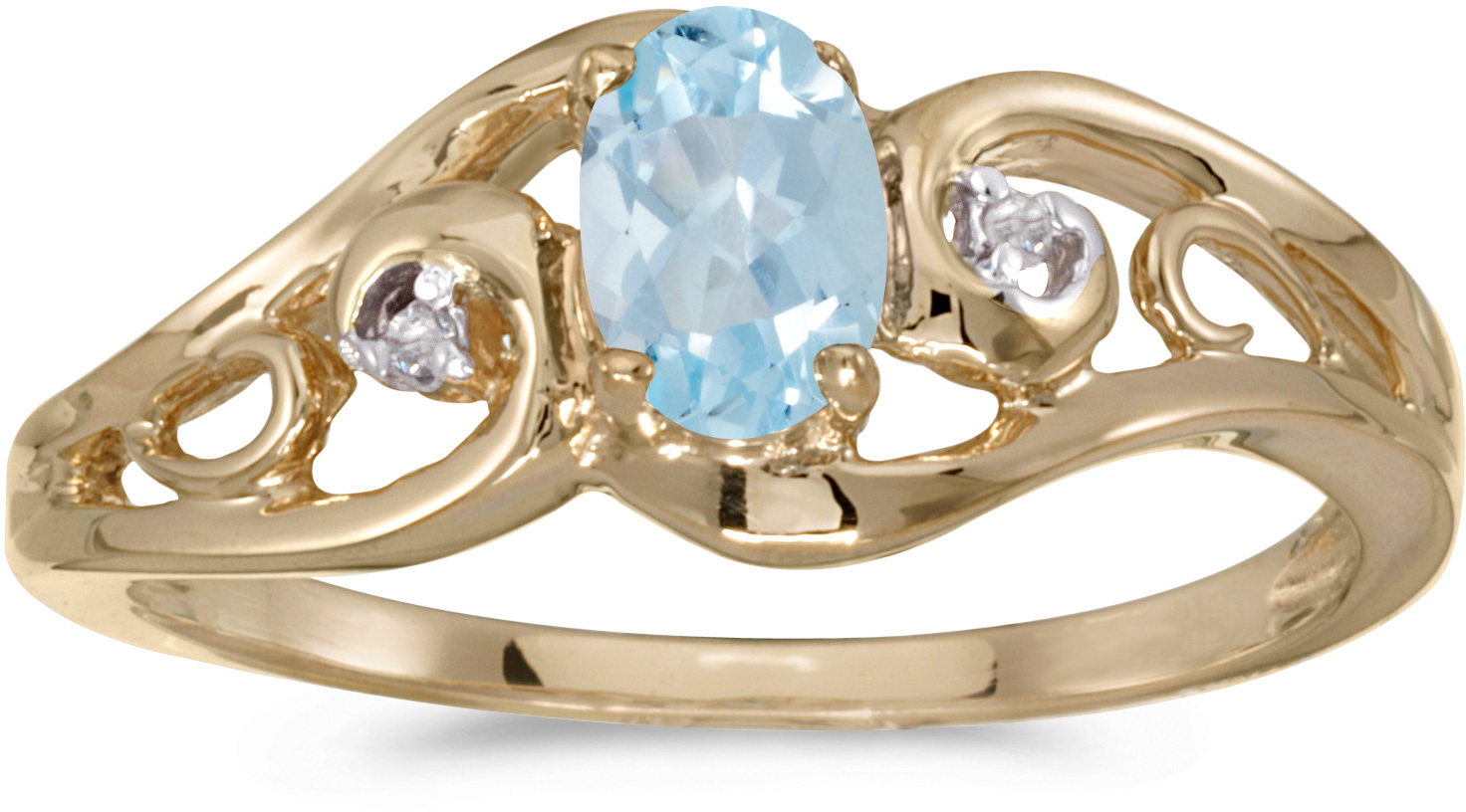 14k Yellow Gold Oval Aquamarine And Diamond Ring (CM-RM2590X-03)