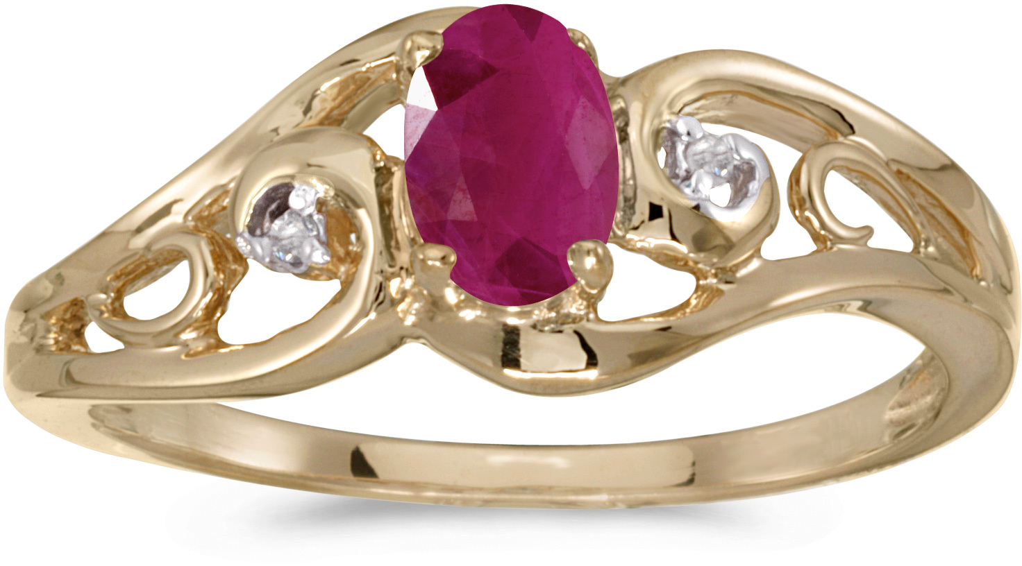 14k Yellow Gold Oval Ruby And Diamond Ring (CM-RM2590X-07)