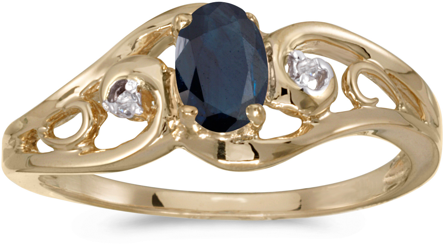 14k Yellow Gold Oval Sapphire And Diamond Ring (CM-RM2590X-09)