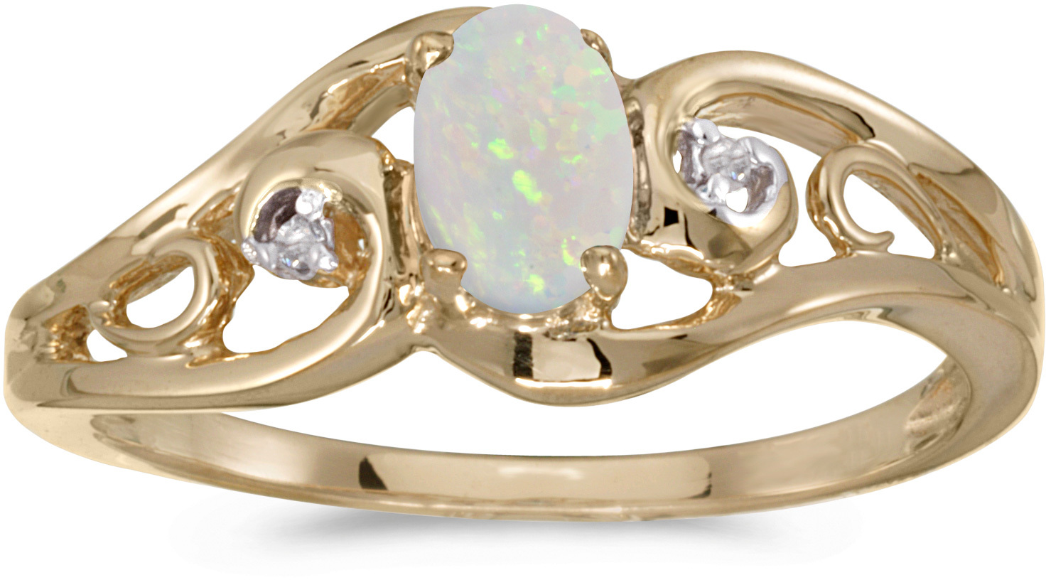 14k Yellow Gold Oval Opal And Diamond Ring (CM-RM2590X-10)