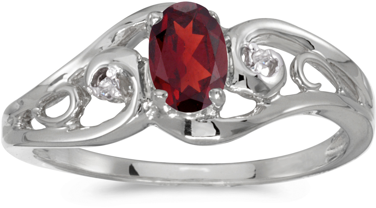 14k White Gold Oval Garnet And Diamond Ring (CM-RM2590XW-01)
