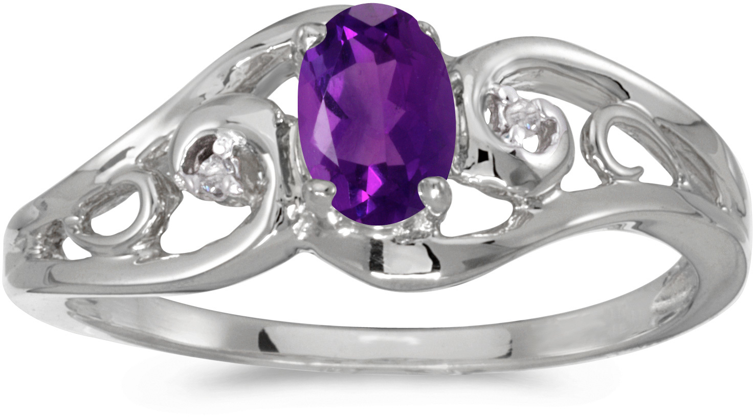 14k White Gold Oval Amethyst And Diamond Ring (CM-RM2590XW-02)