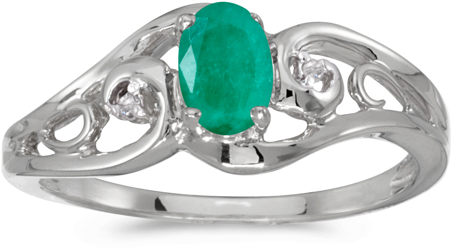 14k White Gold Oval Emerald And Diamond Ring (CM-RM2590XW-05)