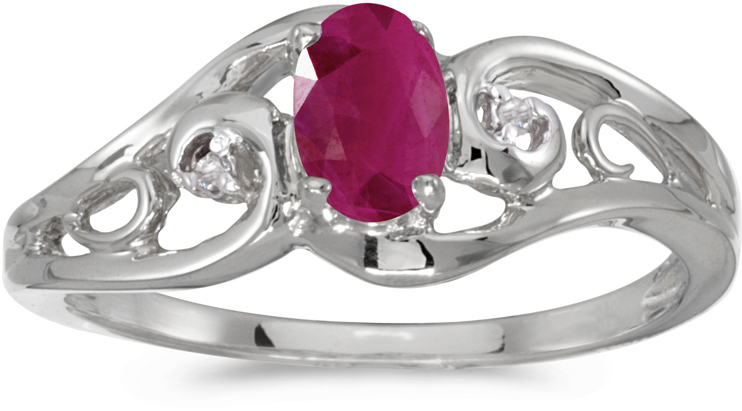 14k White Gold Oval Ruby And Diamond Ring (CM-RM2590XW-07)