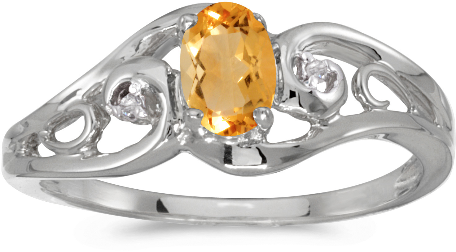 14k White Gold Oval Citrine And Diamond Ring (CM-RM2590XW-11)