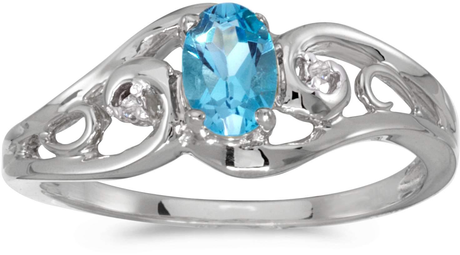 14k White Gold Oval Blue Topaz And Diamond Ring (CM-RM2590XW-12)