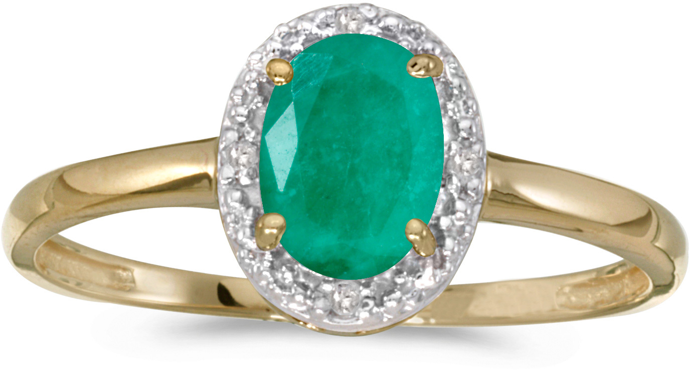 10k Yellow Gold Oval Emerald And Diamond Ring (CM-RM2615-05)