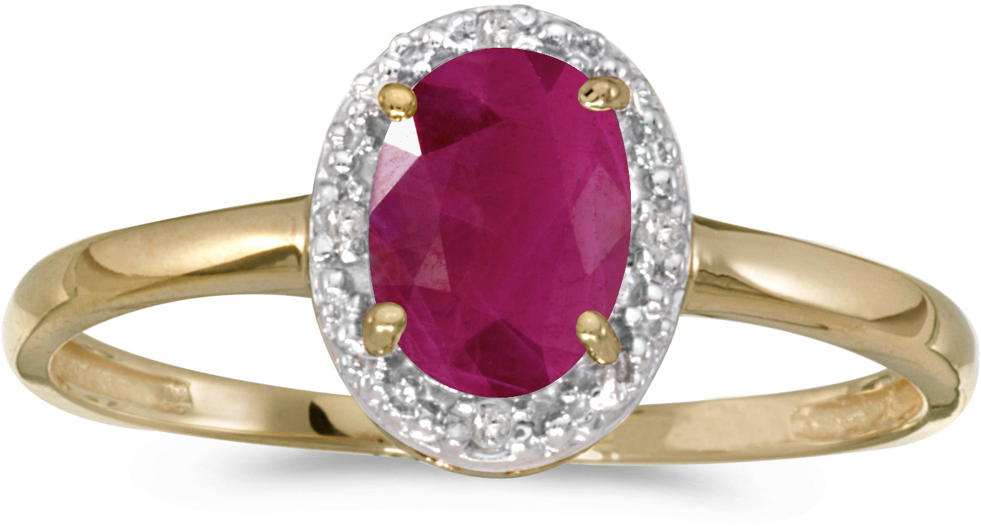 10k Yellow Gold Oval Ruby And Diamond Ring (CM-RM2615-07)