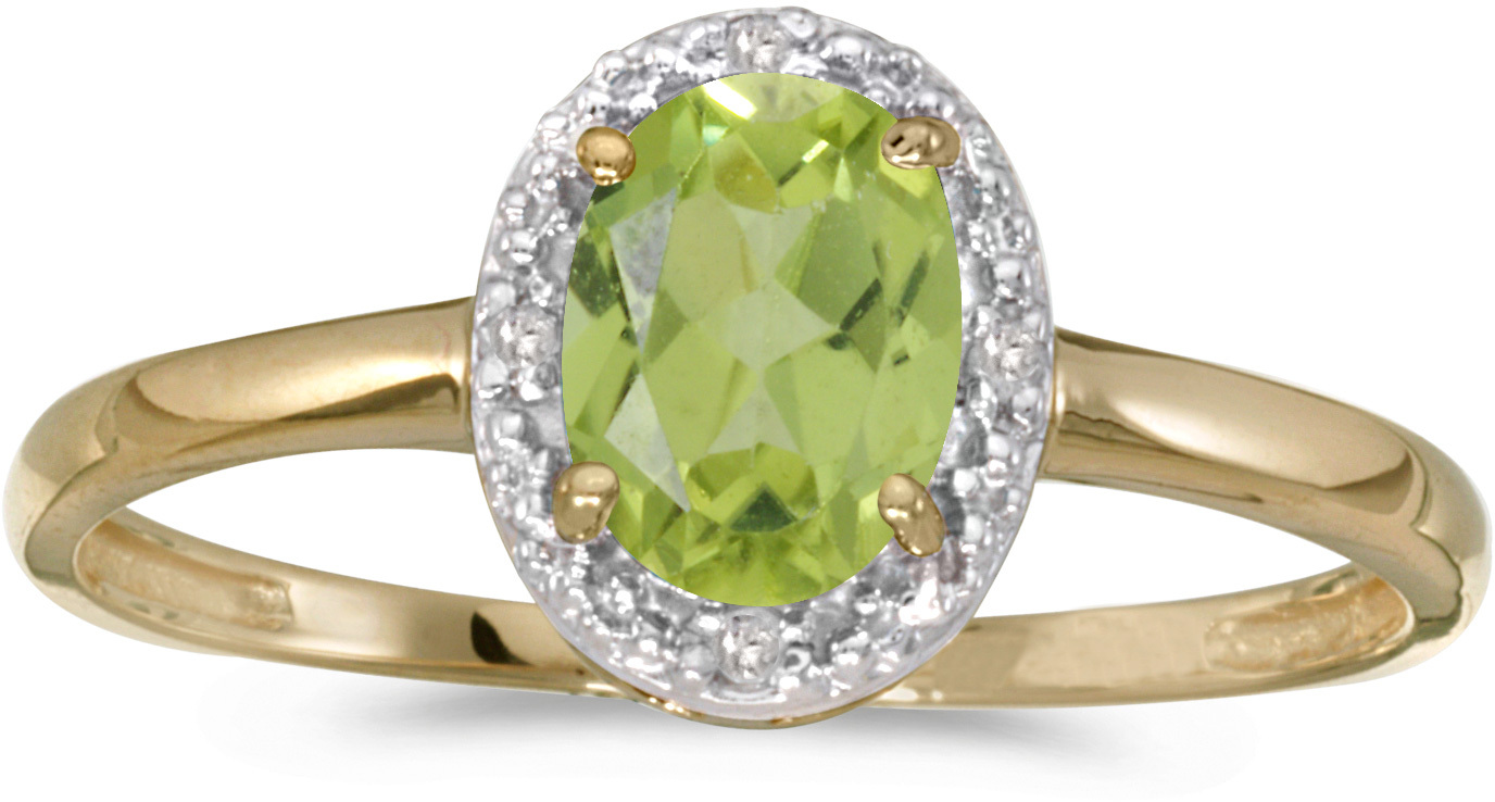 10k Yellow Gold Oval Peridot And Diamond Ring (CM-RM2615-08)